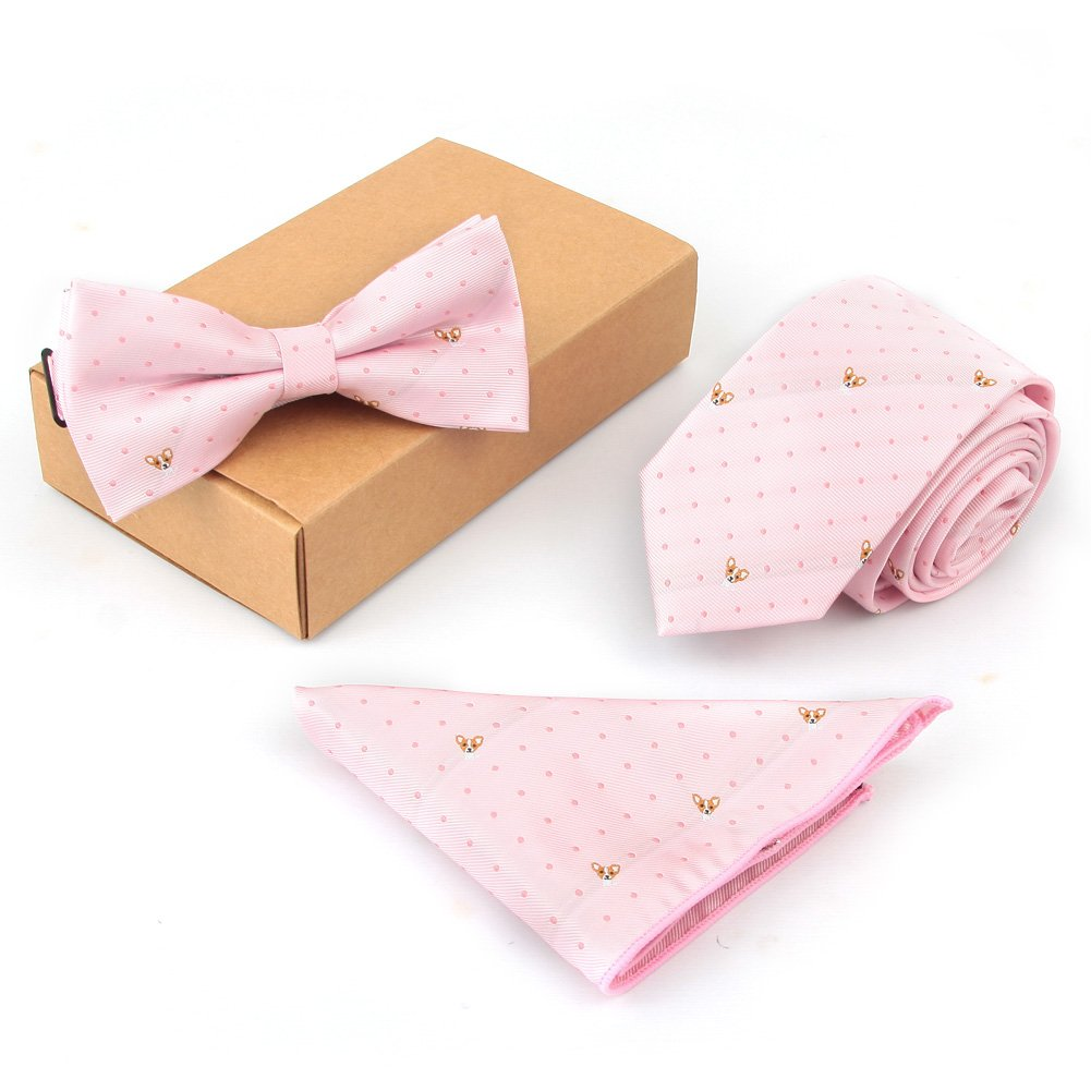 Shindek Slim Tie Set Jacquard Woven Necktie And Bowtie And Hanky With Gift Box