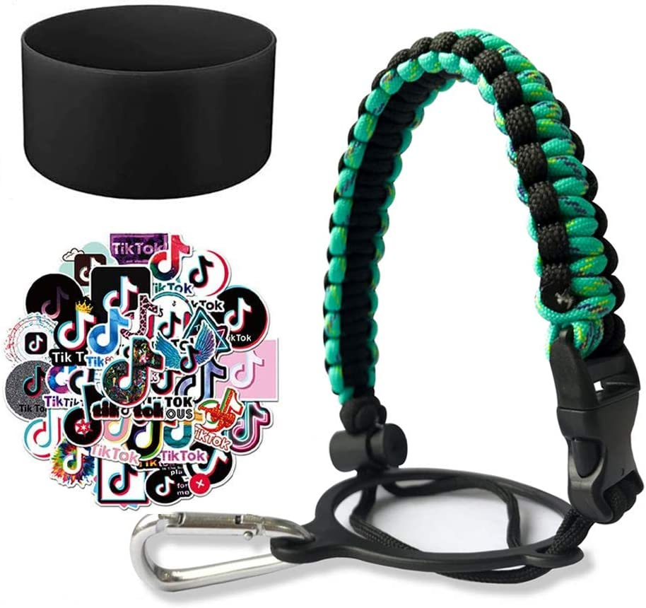 Jumuland Paracord Handle Bottle Strap Cord and Protective Silicone Boot with TIK Tok Stickers for Hydro Flask 12~24 oz Sports Water Bottle Handle Black