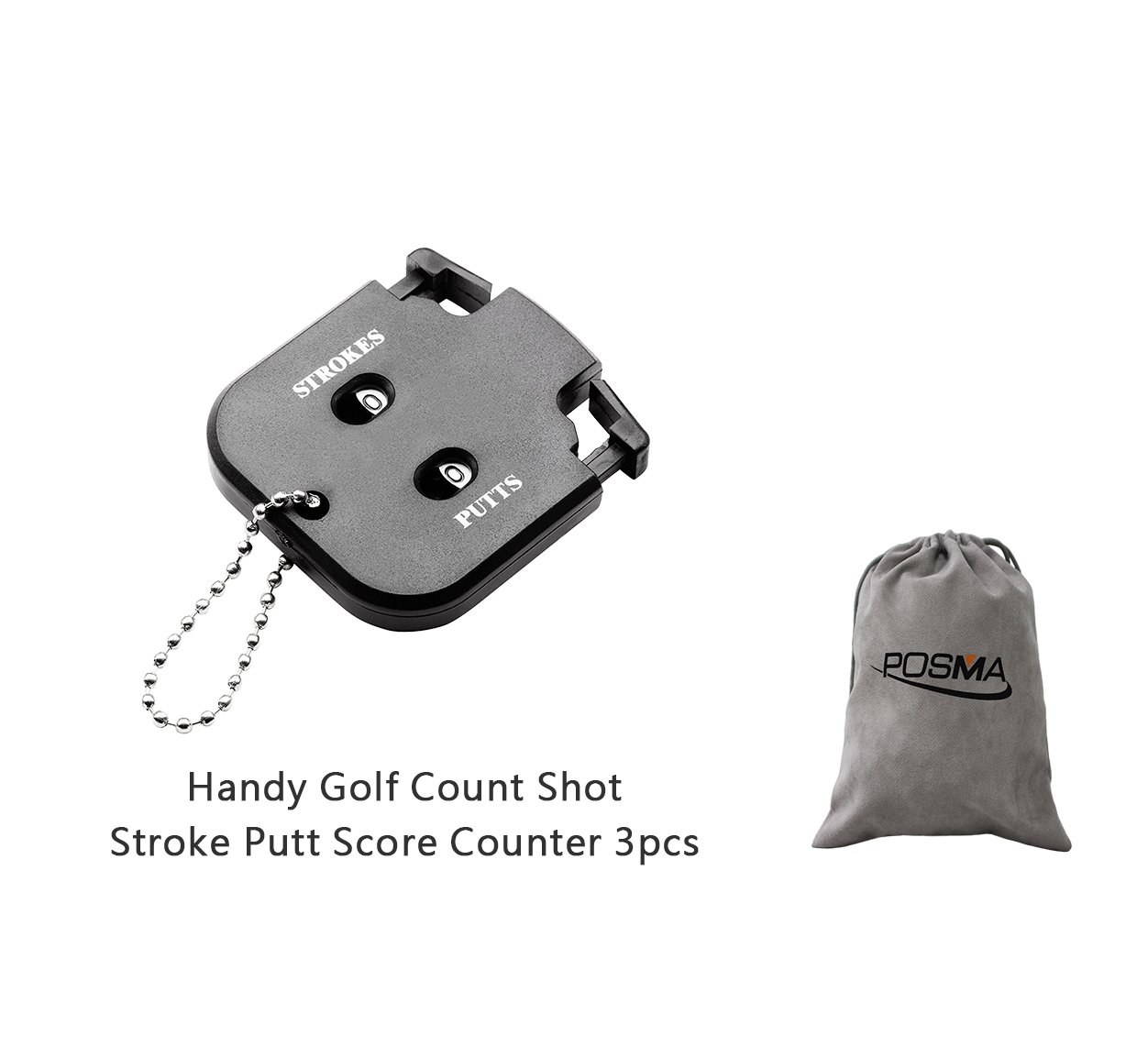 POSMA SC010 3pcs Handy Golf Count Shot Stroke Putt Score Counter Two Digits Scoring Keeper Mini Come with Flannel storage bag