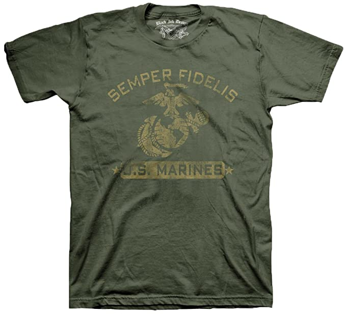 a700fffc9 Black Ink Design Marines Semper Fidelis Men's T-Shirt, Color Olive, ...