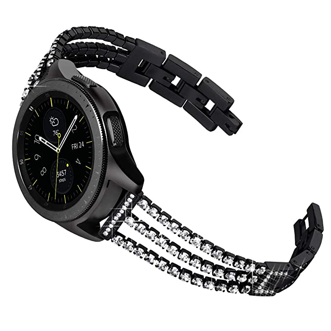 KADES Galaxy Watch 42mm Band, Galaxy Watch Active Bands, 20mm Bling Jewelry Bracelet with Quick Release Pin Compatible for Garmin VivoActive 3/ ...