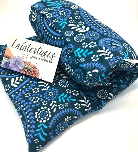 EXTRA Large 11 x 21 in. microwave flax heating pad, unscented, Blue Floral Paisley, The