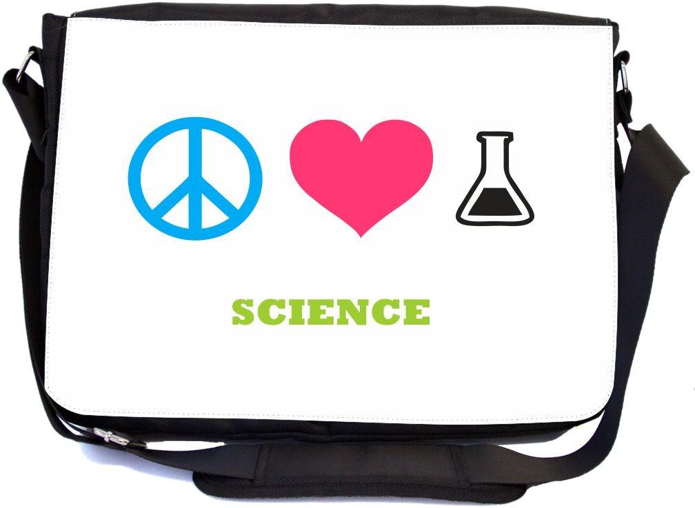 Peace Love Science Design Premium School Messenger Bag + UKBK Wristlet