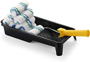 Paint Roller Tray Set, 4 inch Paint Roller, Paint Tray,Roller Frame, Small Paint Roller, Mini Paint Roller, House Painting Supplies, Paint Roller Covers,Roller Naps (12 Piece)