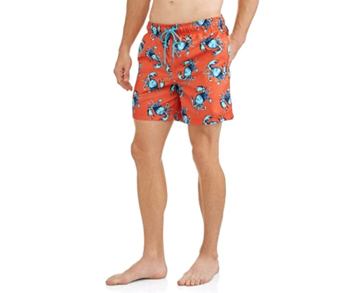 "9a89da16c0 George Crabs Print sunburn Orange Above The Knee 6"" Inseam Swim Short  Trunks - 3XL"