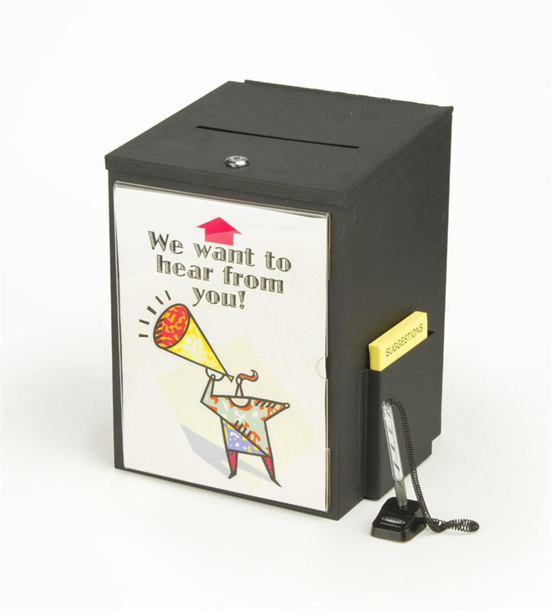 Locking, Metal Suggestion Box With Hinged Lid, Security Pen and 8.5 by 11 Inch Sign Holder - Black