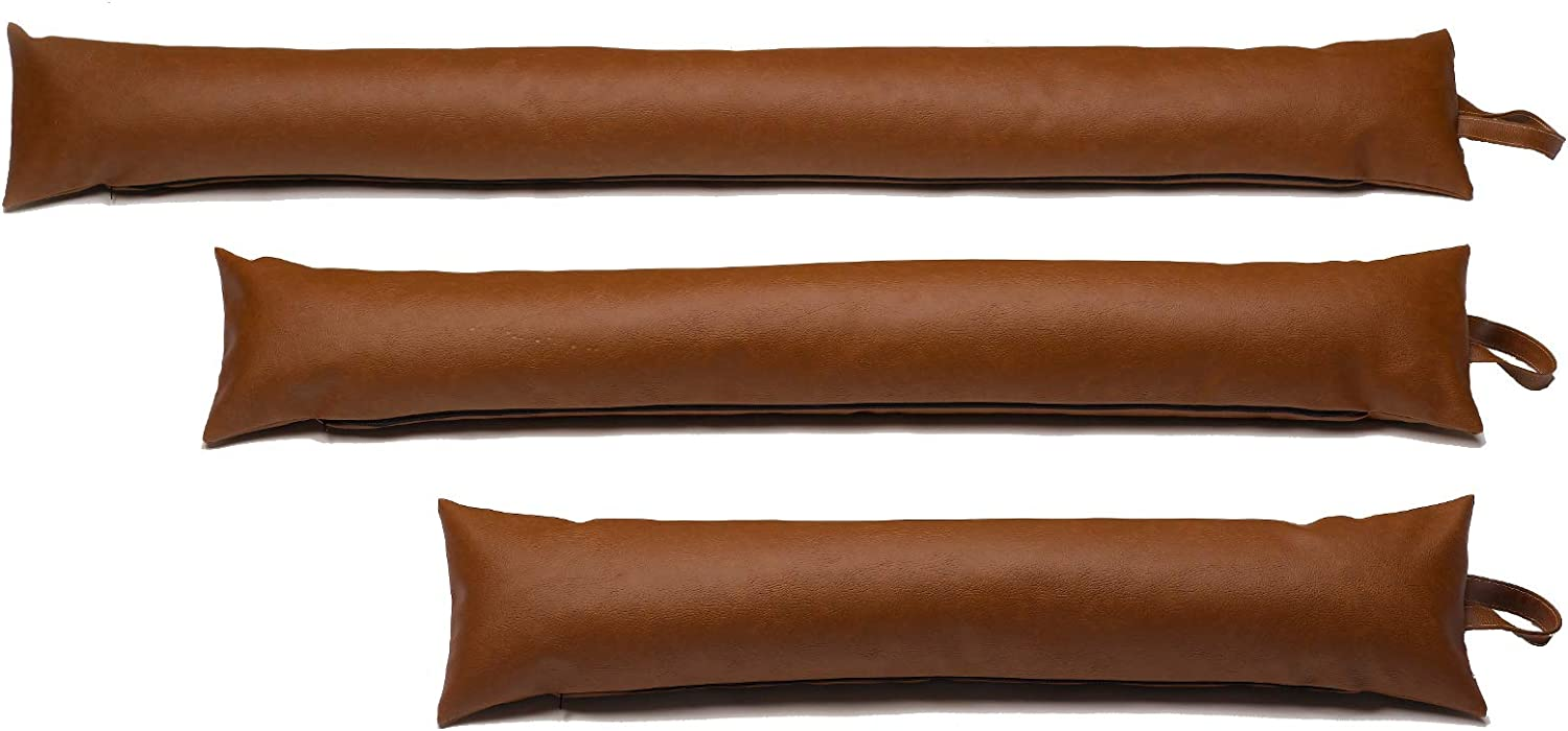 Classic Home Store Leatherette Draught Excluder Brown Faux Leather French Patio Door Long Draft Stopper (5 ft)