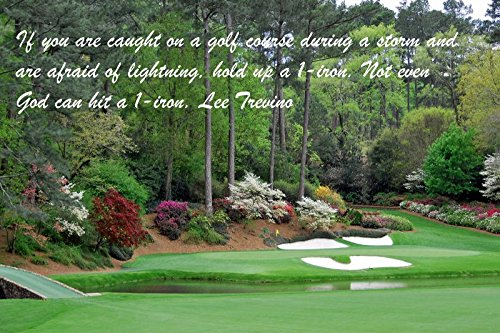 (11x14 Tin Sign Famous Quote If You Are Caught On A Golf Course During A Storm And Are Afraid Of Lightning, Hold Up A 1-Iron. Not Even God Can Hit A 1-Iron. Lee Trevino)