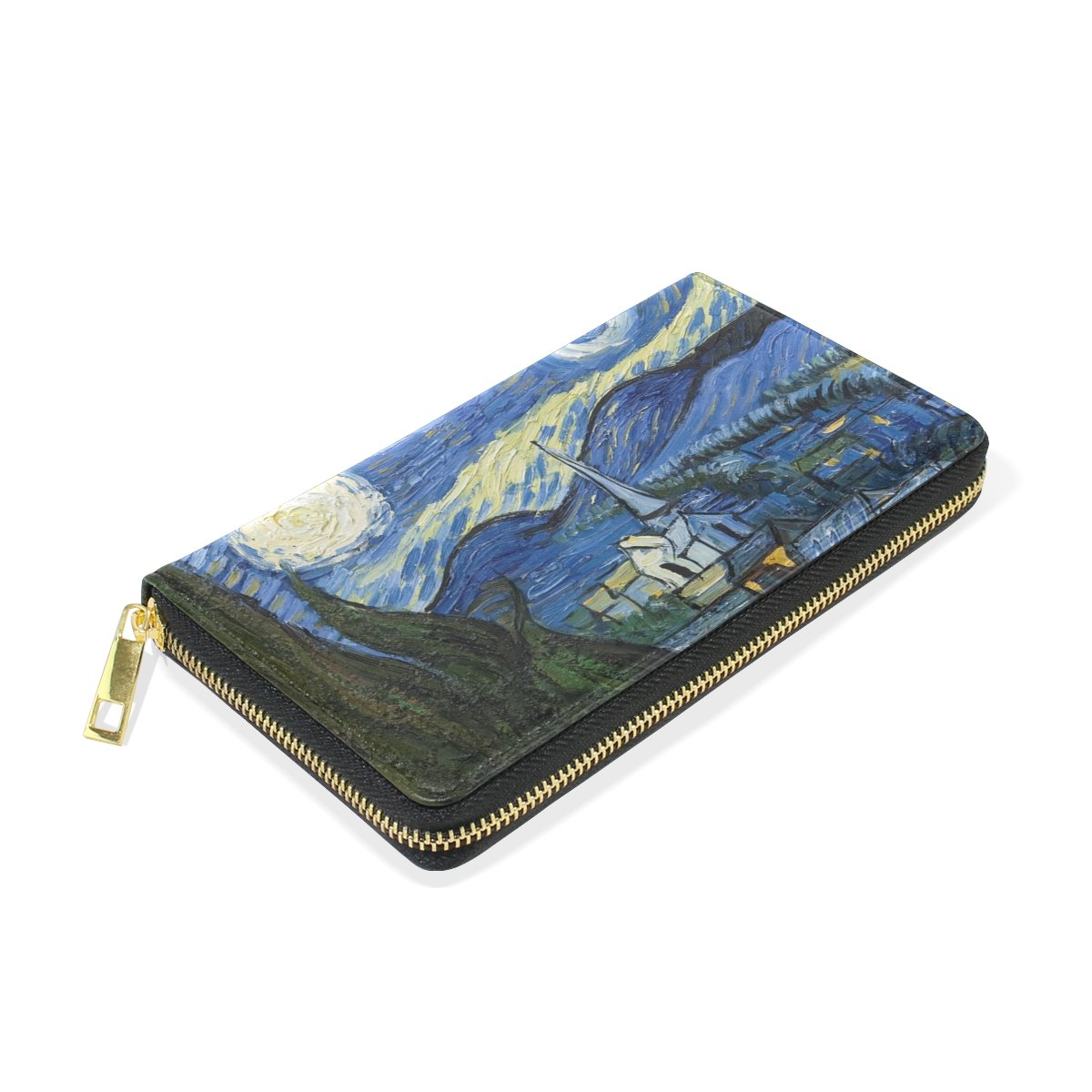 70bfb72e052a Women Genuine Leather Wallet Purse Starry Night Van Gogh Oil Painting Card  Holder Organizer Clutch