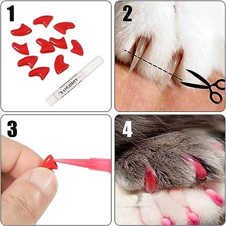 Hugttt 200 piezas de tapones para uñas de gato, 20 colores, garras suaves para mascotas, gatos, uñas con 10 piezas de pegamento adhesivo y 10 aplicadores: Amazon.es: Productos para mascotas