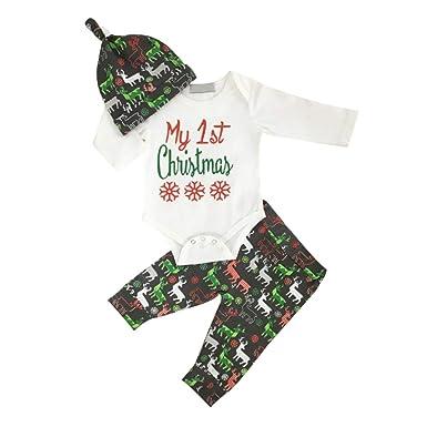 Mein 1 Weihnachts Neugeborenes Baby Mädchen Kleidung Strampler Hosen Outfit Set