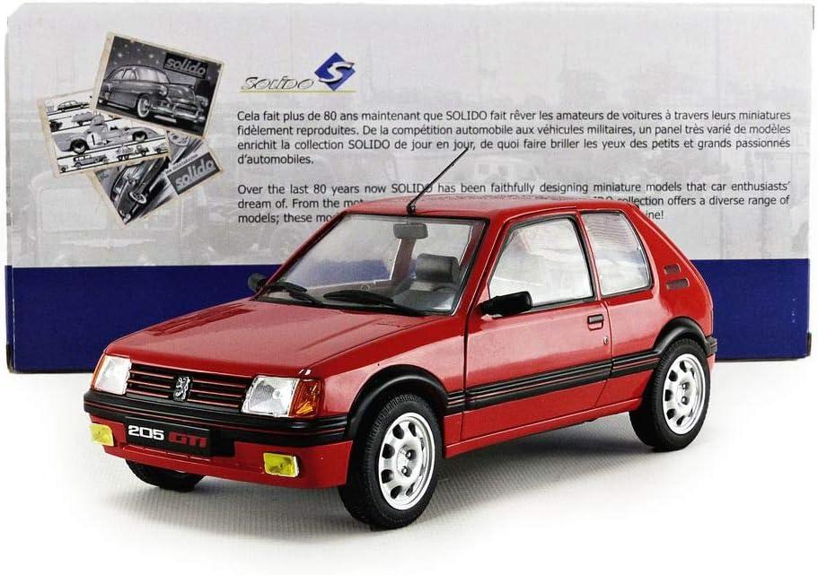SOLIDO S1801702 421184410-1:18 Peugeot 205 GTI MK1 1985 Veicolo Modello Rosso