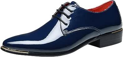 Wealsex Zapatos de Cordones Derby para Hombre,Punta Puntiaguda Vintage Hombres Zapatos Casuales de Negocios