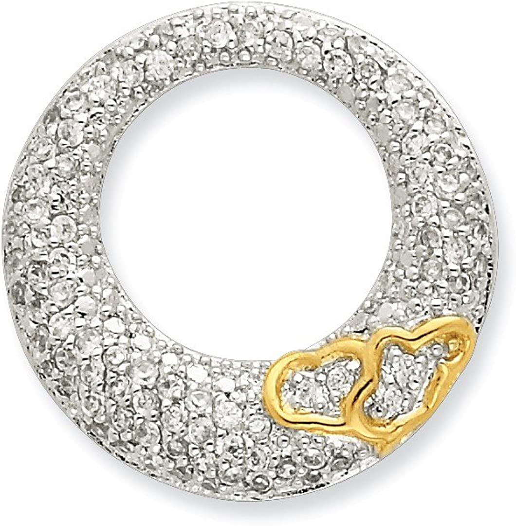 925 Sterling Silver Cubic Zirconia Cz Circle Gold Plated Hearts Slide Pendant Charm Necklace Love Fine Jewelry Gifts For Women For Her