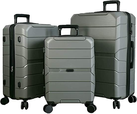 Expandable Luggage 3 Piece Set Suitcase Spinner Scratch Resist PP Hardside with TSA Lock and Dual Wheels, Silver