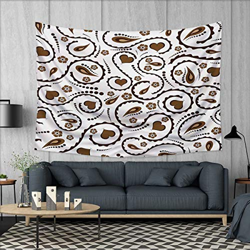 Brown Needlepoint Paisley (Anhuthree Romantic Tapestry Wall Tapestry Heart Swirls Dots Paisley Inspired Design Love Valentines Signs Asian Art Wall Decor 60