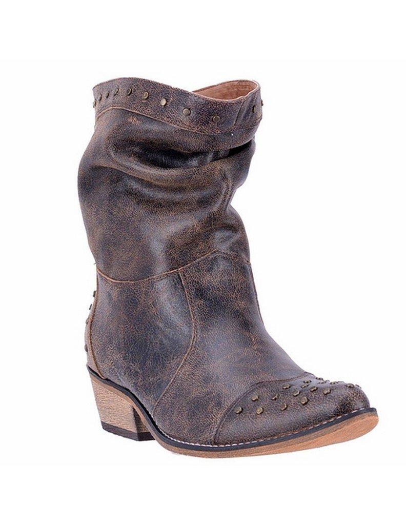Dingo Ladies 7'' Western Slouch Boots Black/Tan DI 744 8.5 M