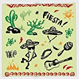 Cotton Microfiber Hand Towel,Mexican Decorations,Popular Hispanic Objects with Fiesta Taco Guitar Cactus Plant Nachos Print,Multi,for Kids, Teens, and Adults,One Side Printing