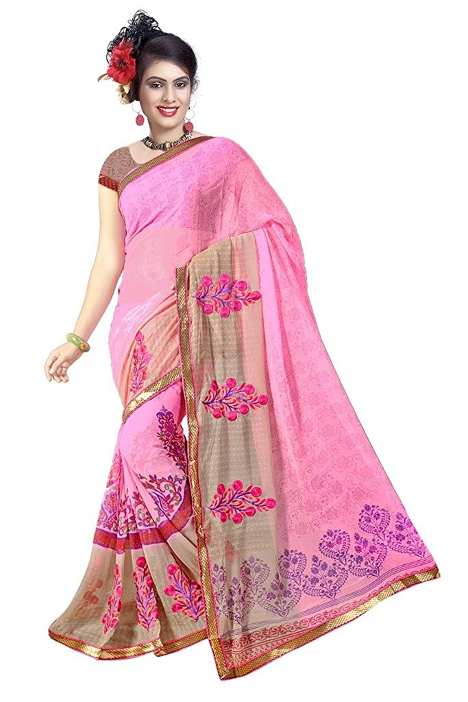 Buy Party Wear Designer Sarees Women S Clothing Saree Fashion Shoppers Pink Gergette Party Wear Designer Saree Sarees For Women Party Wear Sarees For Women Latest Design Party Wear Sarees New Collection Sarees