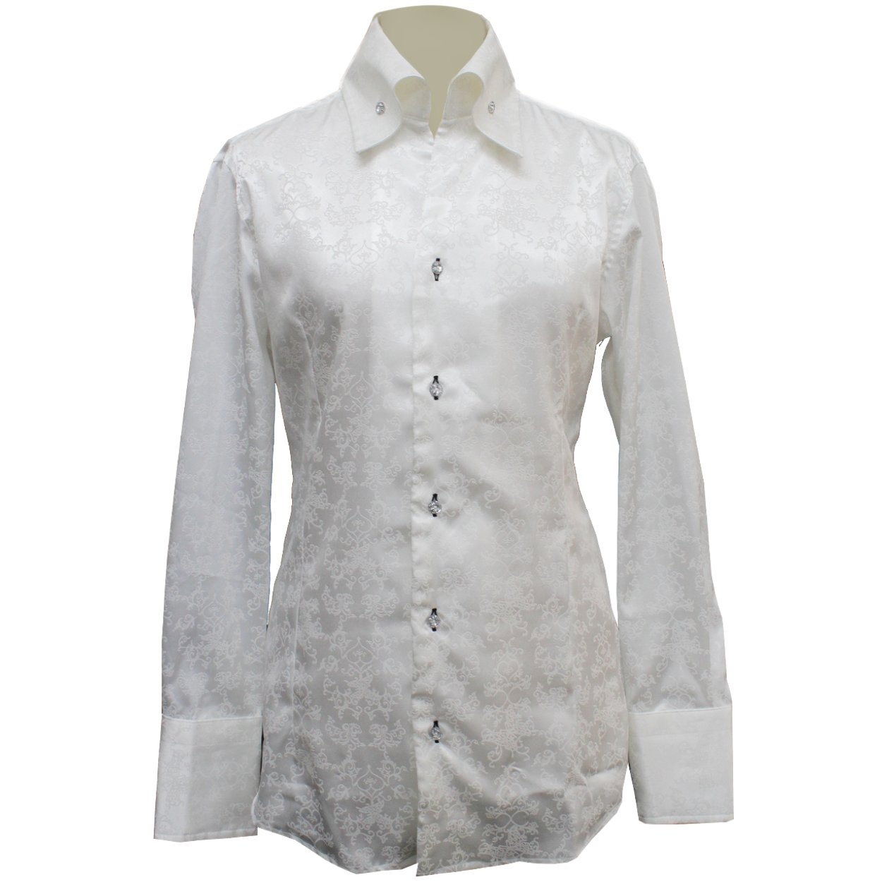 【Deorart ディオラート】バタフライ ゴシックジャガードシャツ BY7039 B077Q7FM5S S|ホワイト ホワイト S