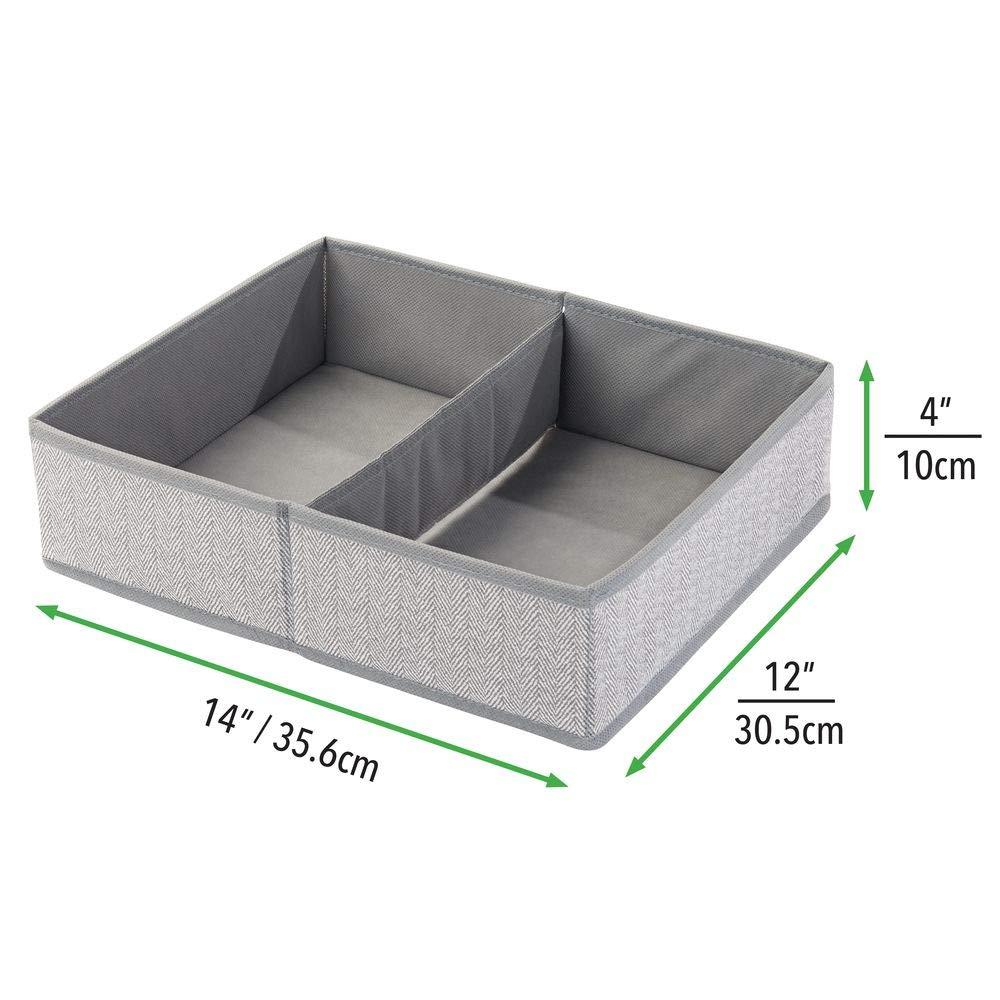 mDesign Juego de 2 cestas organizadoras con Dos Compartimentos Accesorios etc Gris toallitas Organizador para beb/és Grande para Guardar pa/ñales Ideal como Organizador de Juguetes