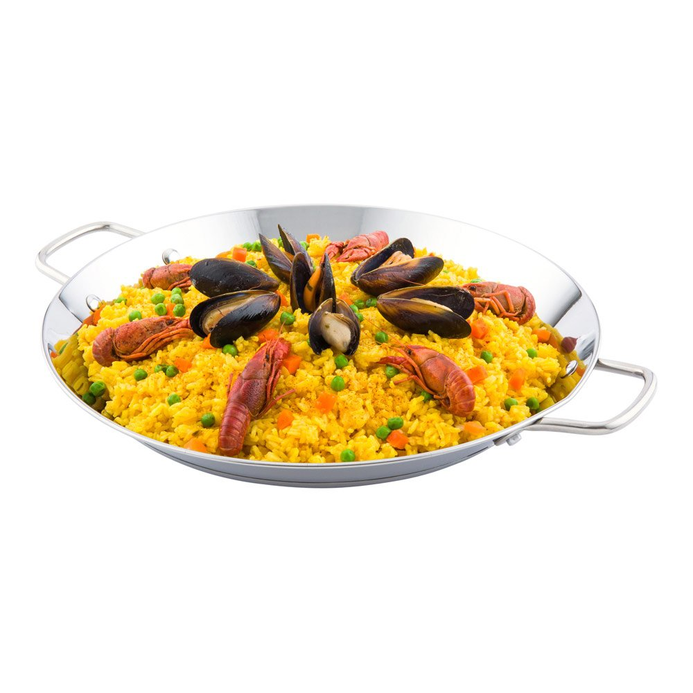 Paella Pan, Induction Ready Pan - Double Handles - Great for Rice or Stir Frys - Stainless Steel - 8 Inches - Met Lux - 1ct Box - Restaurantware RWT0024