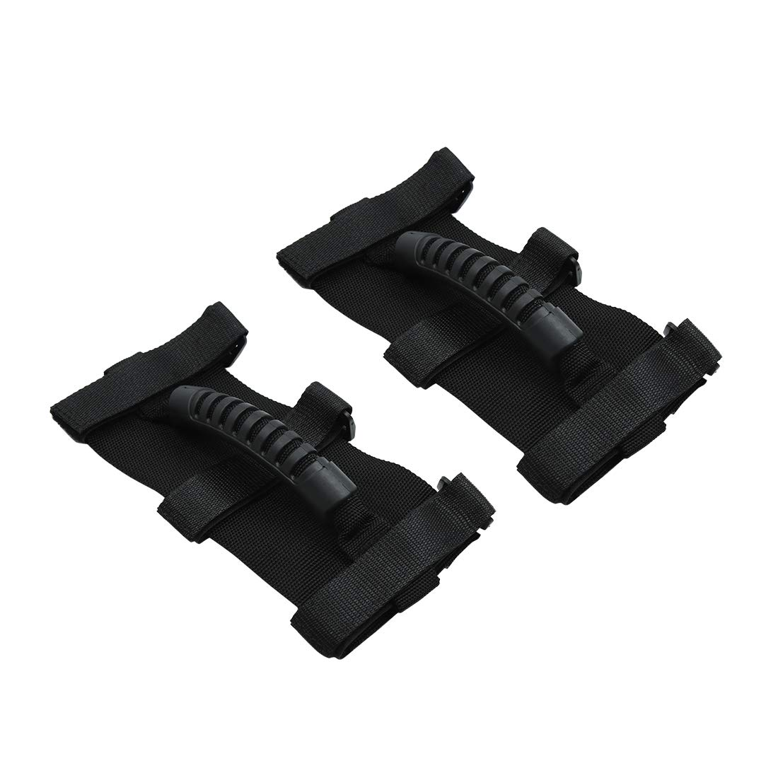Black 2pcs X AUTOHAUX Car Adjustable Grab Handle Set for Jeep Wrangler Roll Bar