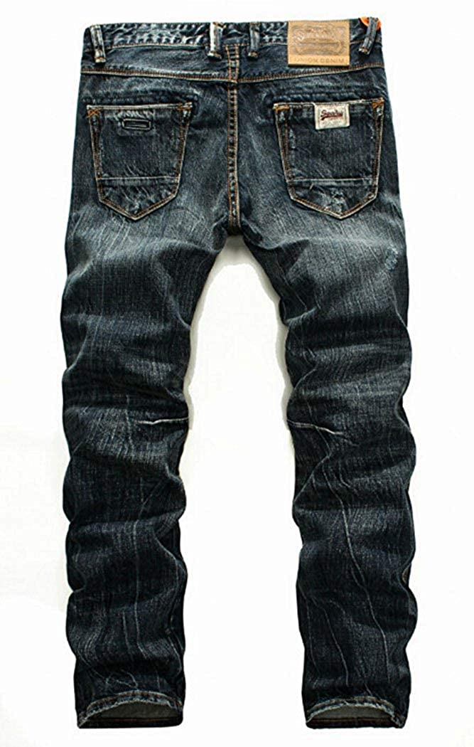 Hanglin Trade Mens Washed Ripped Distressed Slim Fit Jeans Asian 28-38