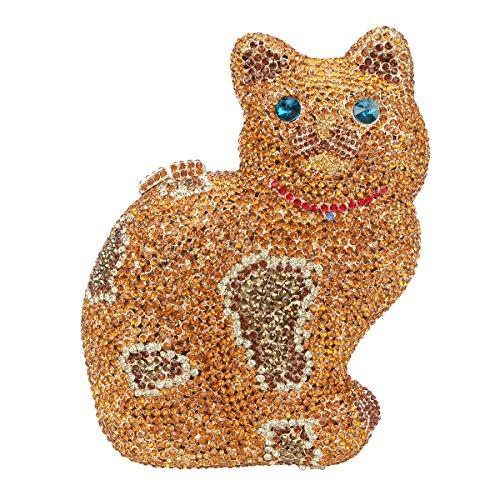 Bonjanvye Cat Shape Glitter Studded Rhinestone Crystal Evening Bag for Girls Brown