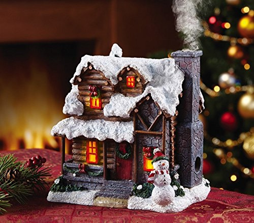 Lighted Incense Burner Smoking Snowman Christmas Village Cabin House Decor Centerpiece Display Table Top Accent Holiday Decoration Christmas Villages