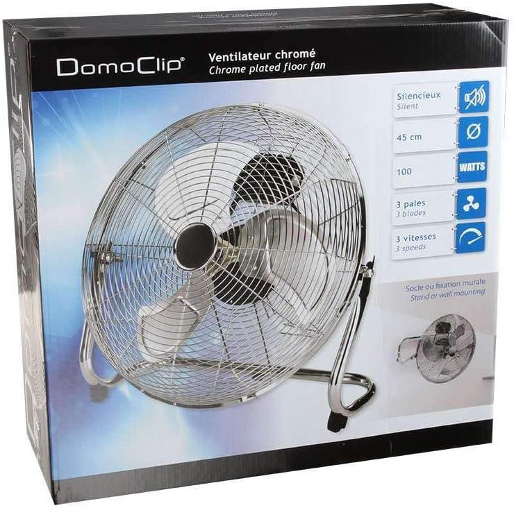 oscilante 3 aspas de aluminio, 45 cm, ventilador, motor silencioso, plateado Ventilador de suelo silencioso de 100 W ventilador de mesa