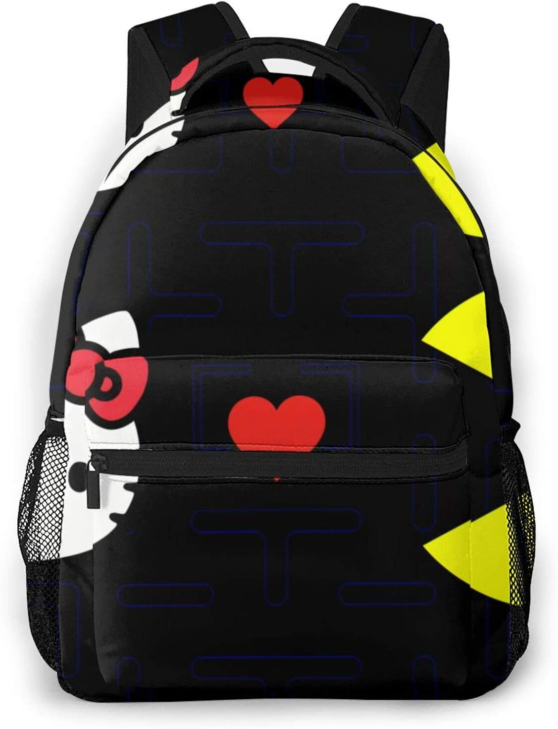 Pac-Man Met Hellokitty Travel Bags 3d Pattern Backpack School Laptop Bookbag Lightweight Multi-Function And Water Resistant For Teens