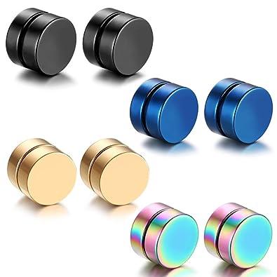 2d553ab23e39 Aroncent Aretes Pendientes Magnéticos de Acero Inoxidable Quirúrgico para  Oído sin Agujero Punk Rock Earrings sin