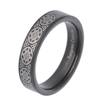Black Tungsten Gold Plated Celtic Design Band Women Men Wedding Ring