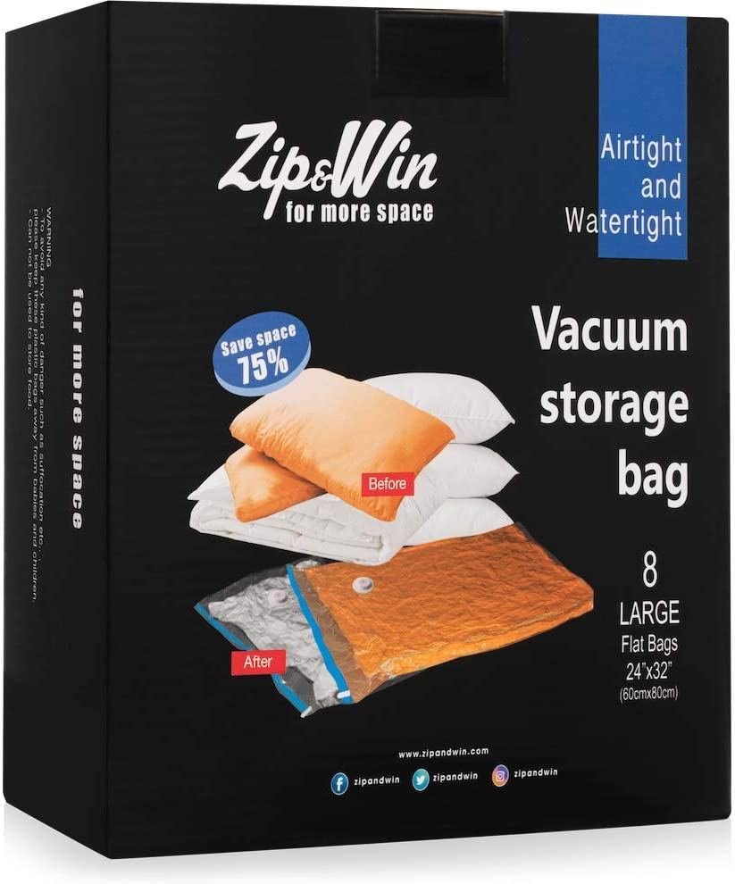 Zip&Win Vacuum Storage Bags 24''x32'' Large Size, Pack of 8 Pieces Space Saver Bags for Seasonal Clothes, Duvets, Pillows, Blankets (Airtight and Waterproof)
