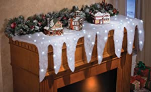 Collections Etc Lighted Snow and Icicle Holiday Mantel Scarf - Fireplace Decor for Christmas Village