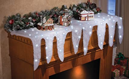 collections etc lighted snow and icicle holiday mantel scarf fireplace decor for christmas village