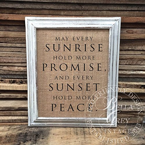 May Every Sunrise Hold More Promise and Every Sunset Hold More Peace Sign Burlap or Cotton Art Print Inspirational Gift Sympathy Gift Frame NOT included