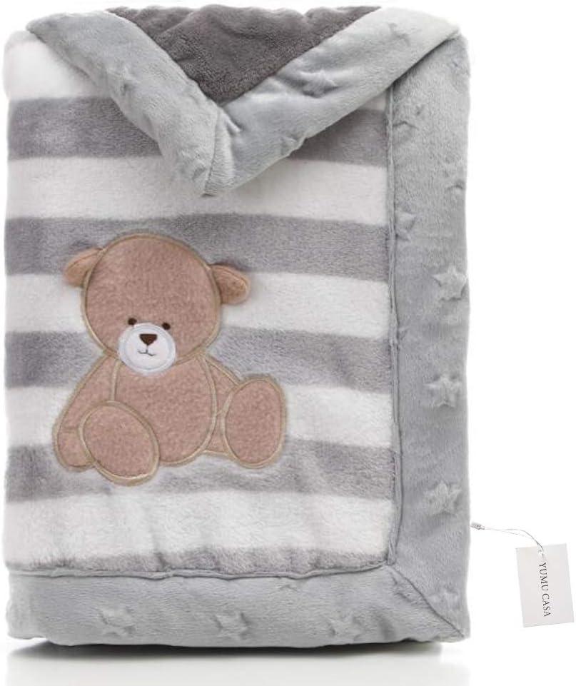 Yumu casa - Manta de franela gruesa para bebé, doble capa, suave, diseño de dibujos animados para recién nacidos, Franela, Oso gris., 100*150cm/39.4*59.1 inch