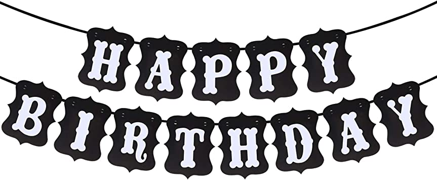 Letrero Para Decoración De Cumpleaños Con Texto En Inglés Happy Birthday En Blanco Y Negro Home Kitchen