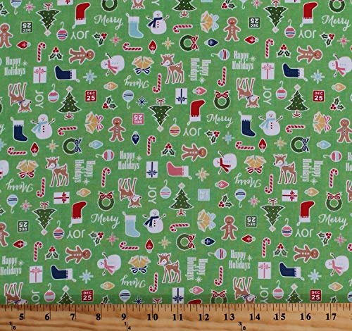 Cotton Cozy Christmas Decorations Stockings Christmas Trees Snowmen Ornaments Holiday Words on Green Cotton Fabric Print by The Yard (D381.30) ()