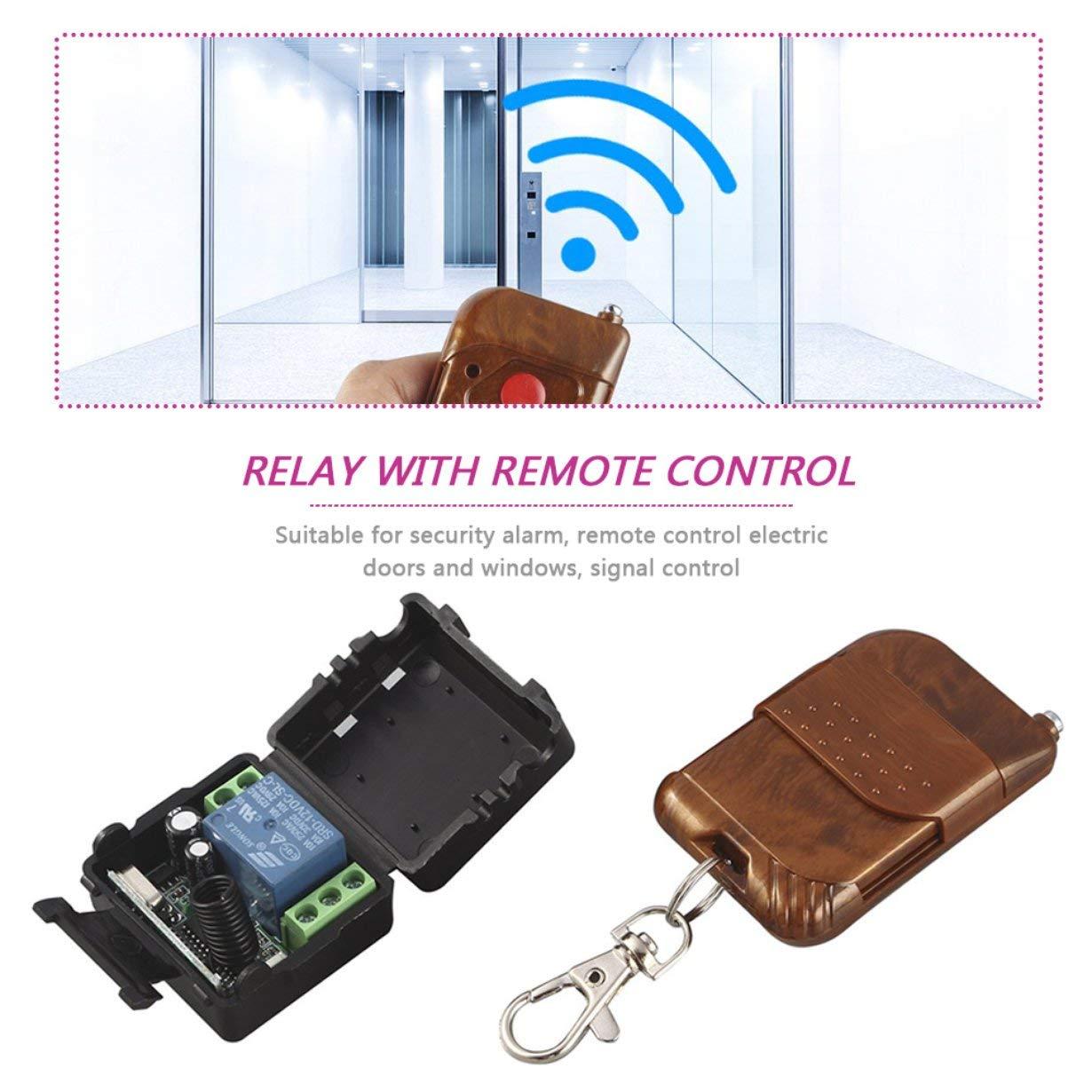 R/écepteur 433 MHz Noir + Marron DC 12V 10A Relais 1CH T/él/écommande sans fil Commutateur RF Bouton de commutation /Émetteur stable