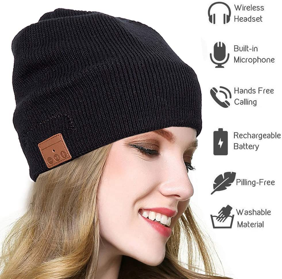 seenlast Upgraded Wireless Bluetooth Beanie Hat Headphones V 5.0 Unique Christmas Tech Gifts for Men Dad Women Mom Stocking Stuffer w Built-in HD Stereo Speakers Microphone
