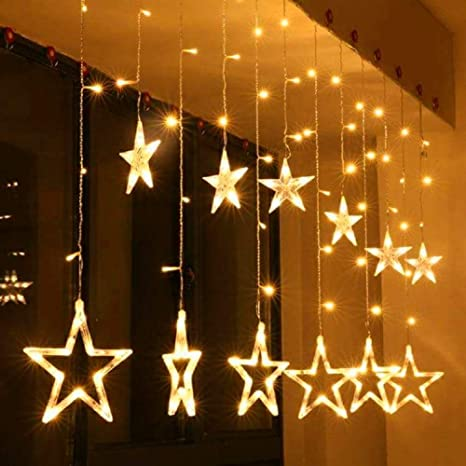 CurioCity Star Light Curtain, String Lights with 12 Hanging Golden Stars, 8  Flashing Modes, Decoration for Birthday, Festival, Festive Occasion,