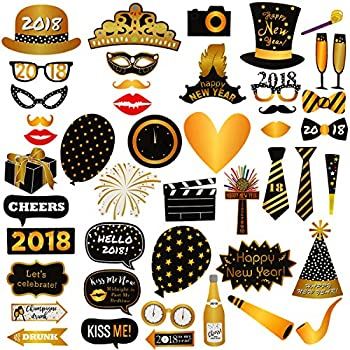 46Pcs 2018 New Years Eve Photo Booth Props Party Supplies Decorations