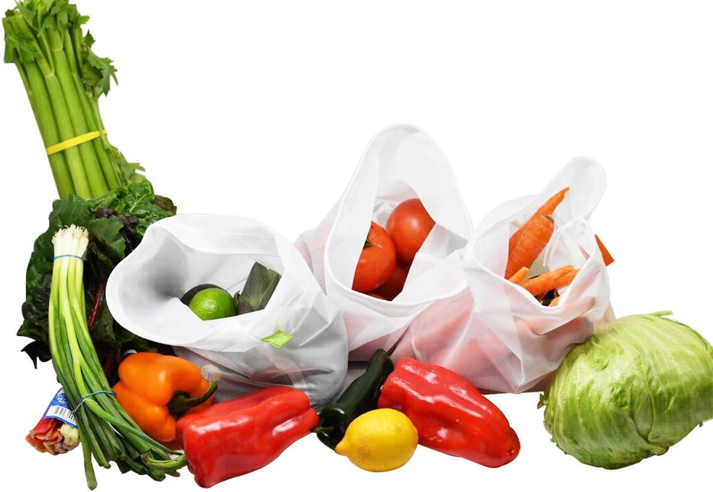 Home-X Premium Reusable Mesh Produce Bags, Lightweight, See-Through. Set of 3 Medium 12x14 Inch Bags