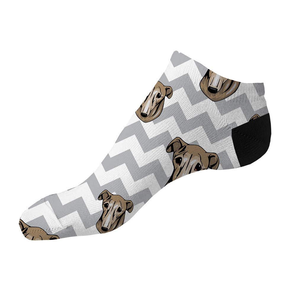 Galgo Espanol Dog Gray Zigzag Pattern Men-Women Adult Ankle Socks