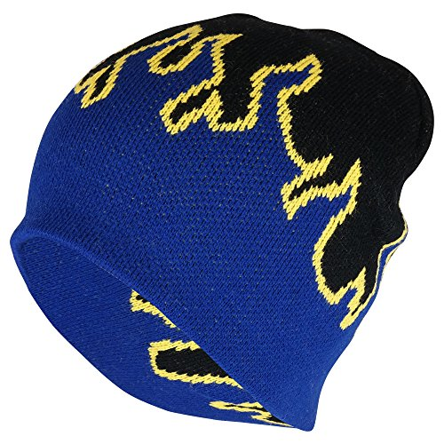 Knitted Cap Pattern (Armycrew Kids Fire Flame Pattern Knitted Short Beanie Cap - Black Royal Yellow)