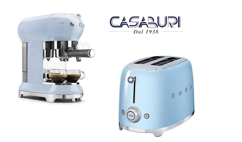 Acquisto SMEG Set 2 Pezzi azzurro : Tostapane 2 scomparti lunghi + caffettiera espressa Prezzi offerta