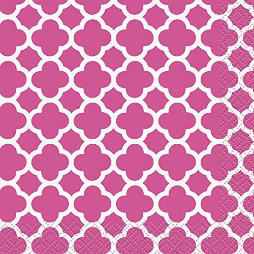 Hot Pink Quatrefoil Beverage Napkins, 16ct ()